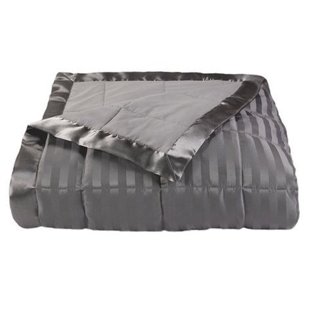 NorthCrest Pewter Gray Down Alternative Blanket Damask Stripe Twin Bed