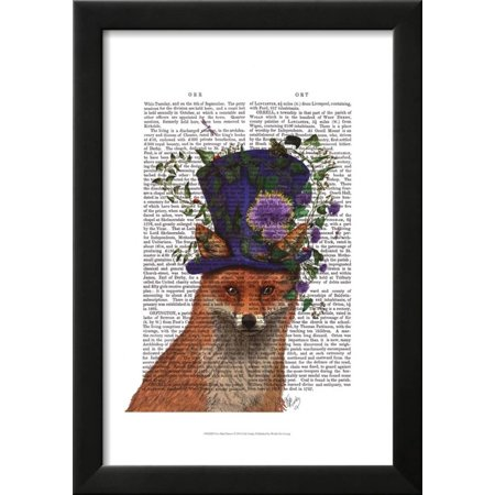 Fox Mad Hatter Framed Art Print Wall Art  By Fab Funky - 15x19 (Black And White Mad Hatter)