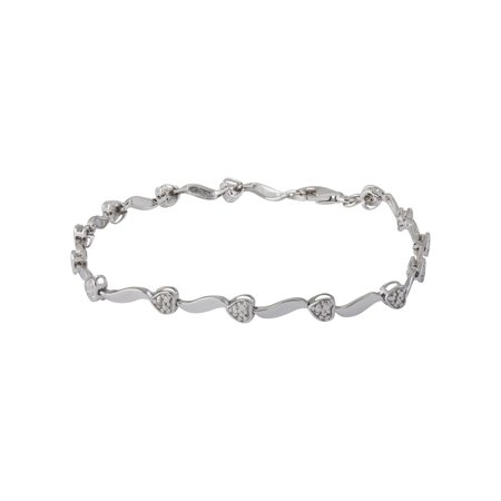 Genuine .01 Ctw Natural Diamond Heart Shaped Bracelet In 925 Sterling Silver ()