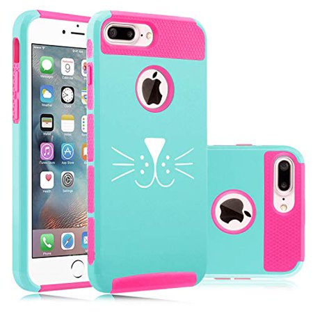 Shockproof Impact Hard Soft Case Cover for Apple iPhone Cat Face Whiskers (Light Blue-Hot Pink, for Apple iPhone 7 Plus/iPhone 8 Plus) - Whiskers Makeup
