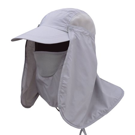 Men Women Sun Protection Bucket Hat with Detachable Face Neck Cover Flap 973665e20049