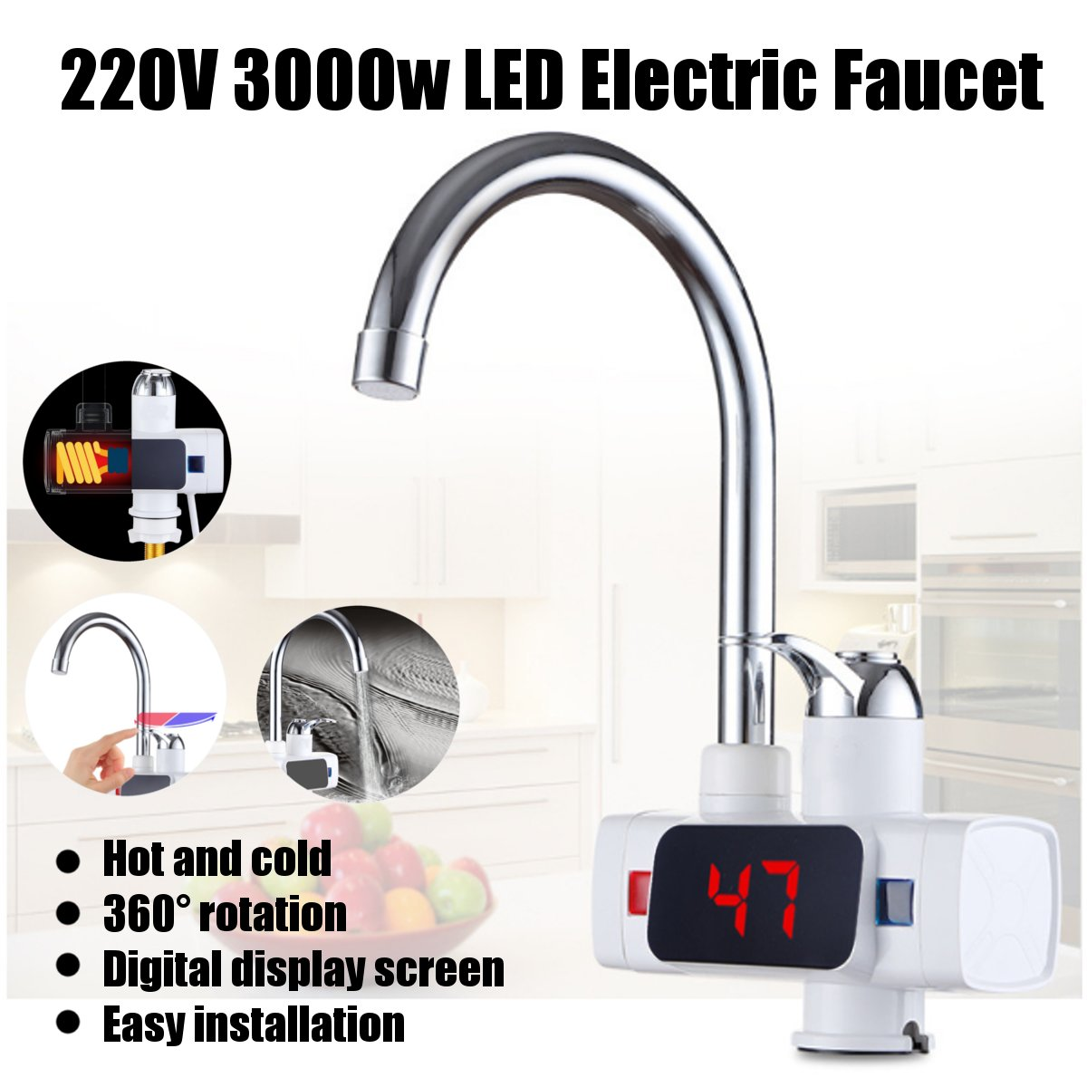 360° Electric Heater LED Faucet Tap Instant Hot Water Bathroom Kitchen 3 Color