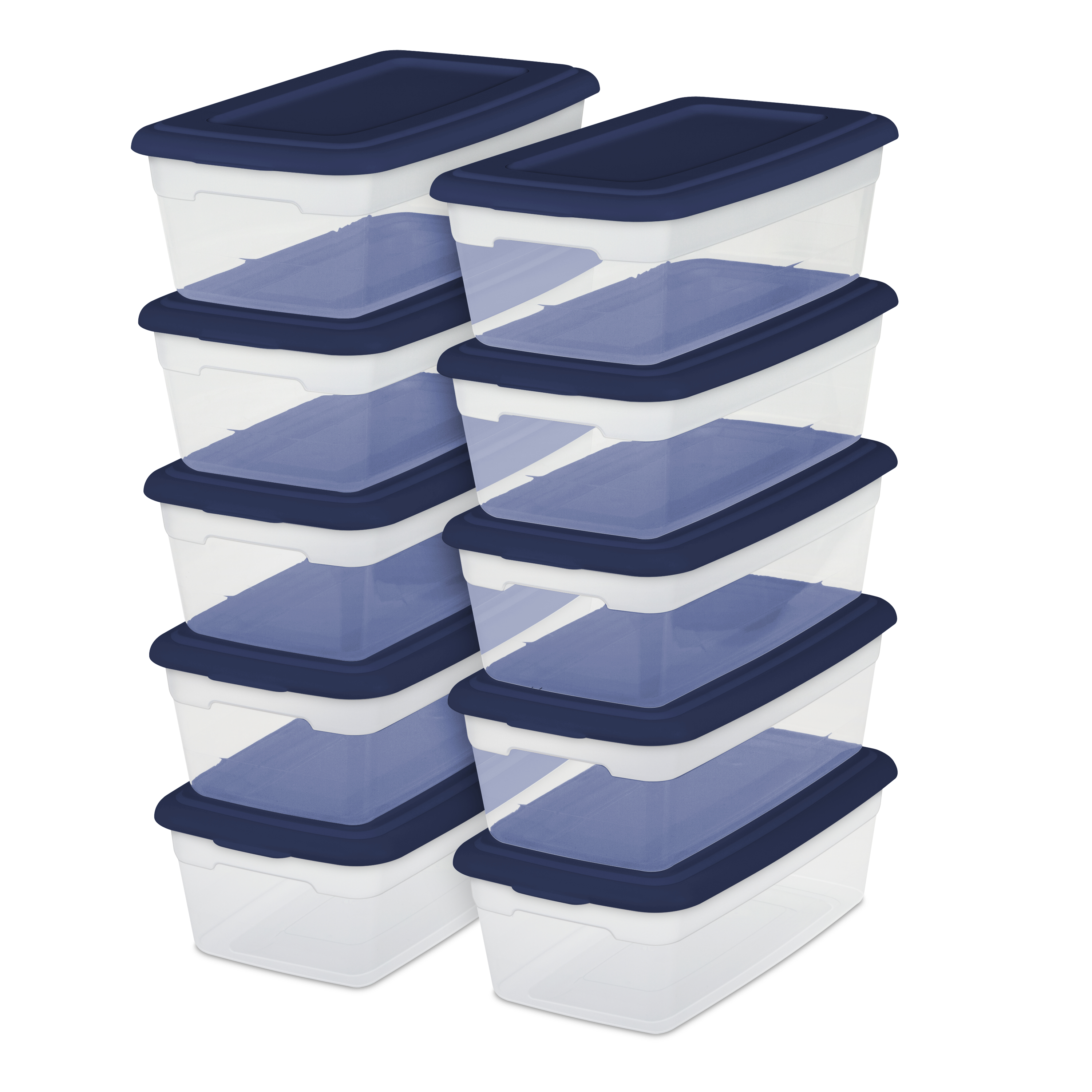 Sterilite Set/10 6 Qt Storage Boxes, Ultramarine (Available in Case of 4 or Single Unit)