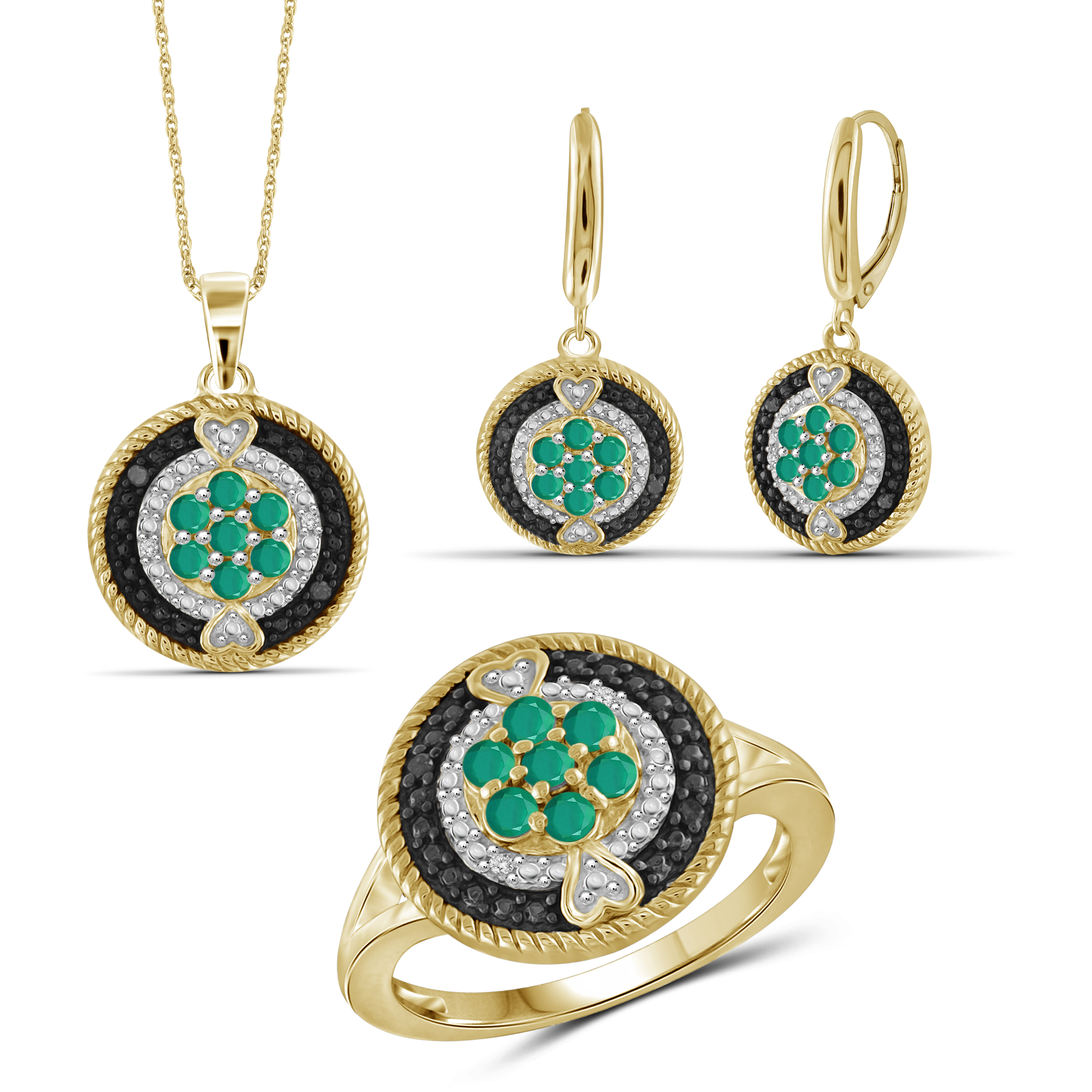 JewelersClub 1 1/2 Carat T.G.W. Emerald And Black & White Diamond Accent 14k Gold Over Silver 3-Piece Jewelry Set