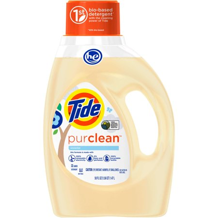 Tide Purclean Liquid Laundry Detergent For Regular And He Washers  Unscented  50 Oz   32 Loads