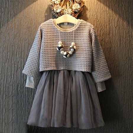 Flower Kids Girl Toddler Baby Princess Party Pullover + Tulle Dresses Outfit - Flower Child Outfits
