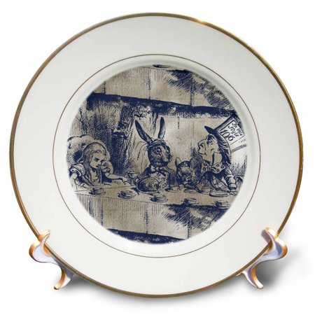 Alice In Wonderland Party Plates And Cups (3dRose Alice in Wonderland Tea Party with Mad Hatter, Porcelain Plate,)