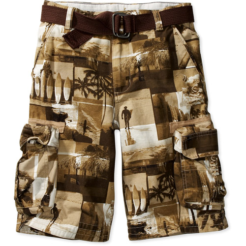 Faded Glory - Boys' Print Cargo Shorts with Canvas Belt