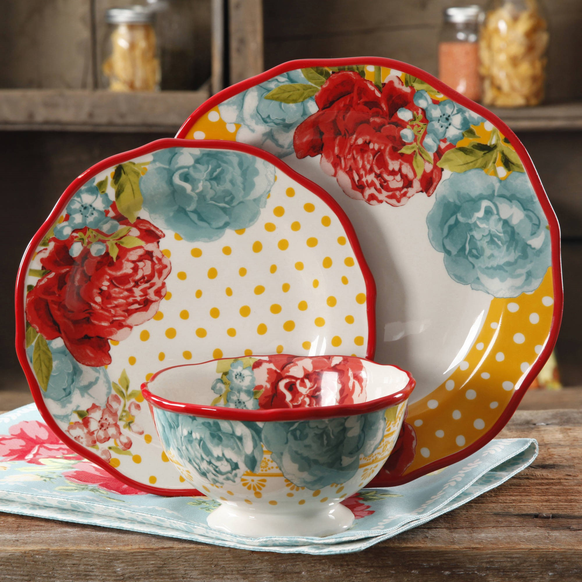 The Pioneer Woman 12-Piece Dinnerware Set, Walmart Exclusive