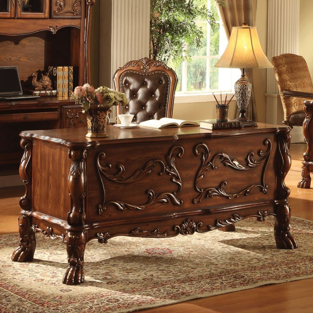 1PerfectChoice Dresden Traditional Antique Solid Carved Wood Office Desk With Upholstery Chair