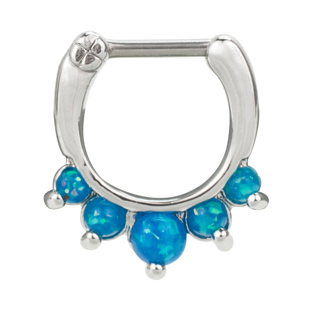Bold Steel 16G 1.2mm Stainless Steel Created Opal Septum Clicker, BLUE, 1007-BL
