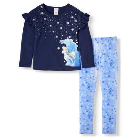 Disney Frozen 2 Exclusive Elsa or Anna Ruffle Sleeve Top and Legging, 2-Piece Outfit Set (Little Girls & Big Girls) ()