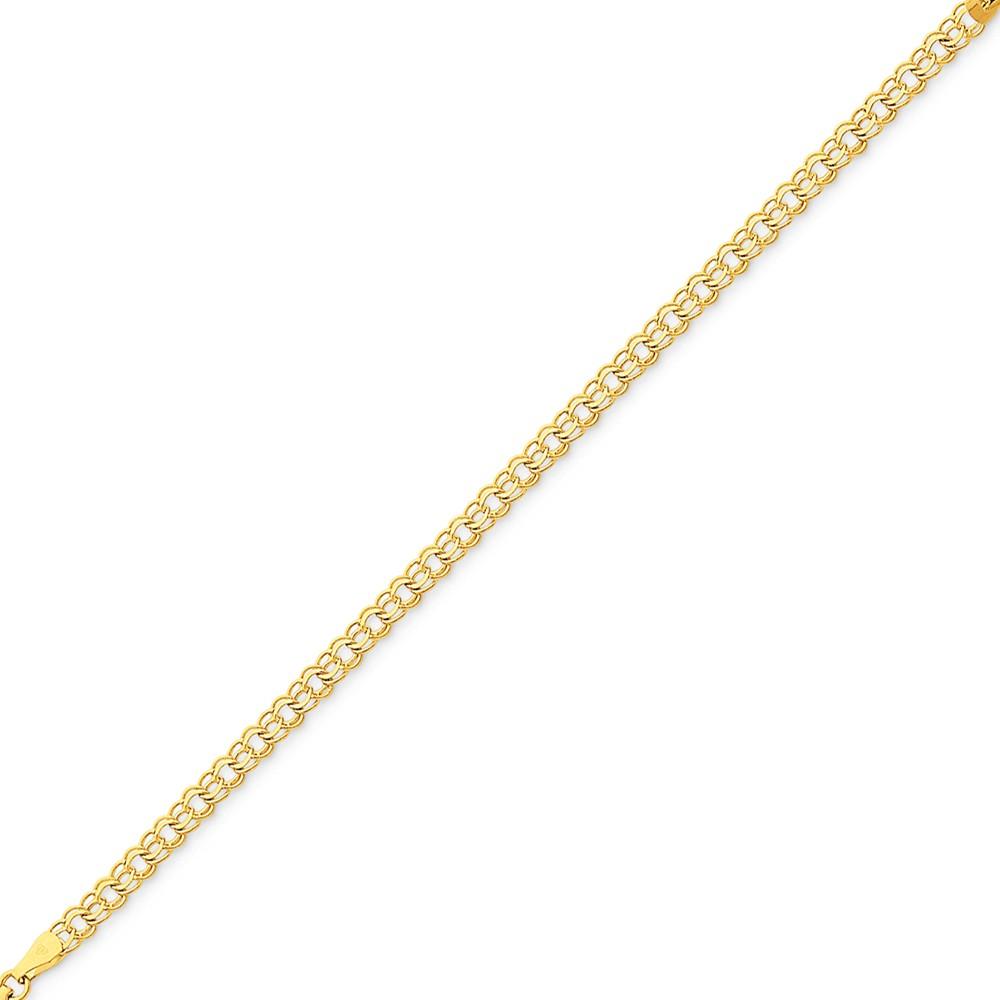 14k Yellow Gold 8in Double Link Charm Bracelet