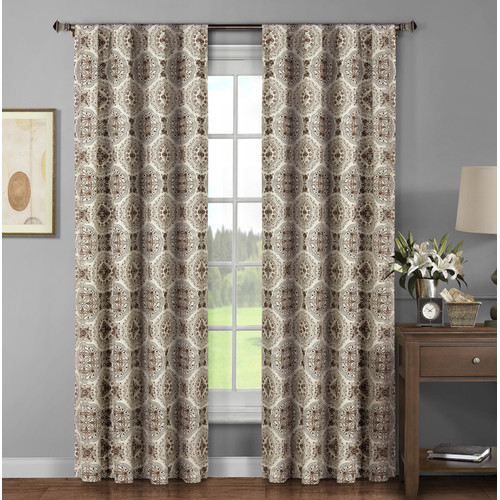 Caroline Printed Cotton Extra Wide 104 x 96 in. Rod Pocket Curtain Panel Pair