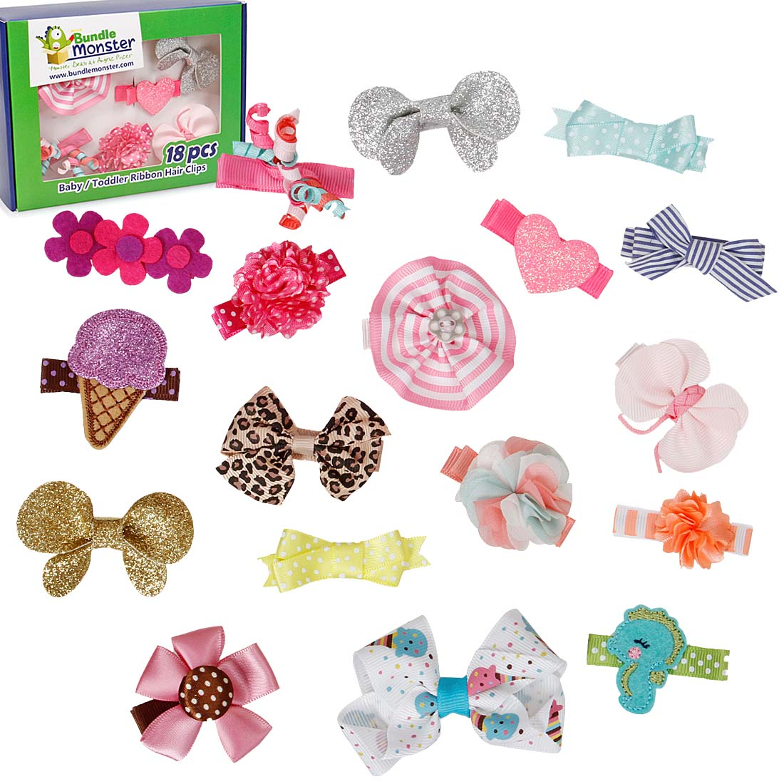 Bundle Monster 18pc Ribbon Bow Flower Mixed Design Baby Girl Toddler Hair Clip
