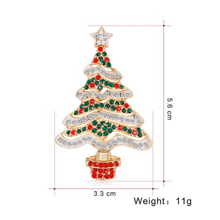 Inlayed Top - Women Christmas Tree Brooch Crystal Inlaid Breastpin Top Decoration Jewelry for Ladies as shown