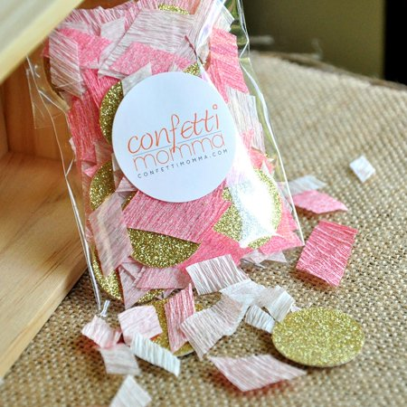 Pink and Gold Glitter Confetti. Handcrafted in 1-3 Business Days. 1st Birthday Table Confetti.