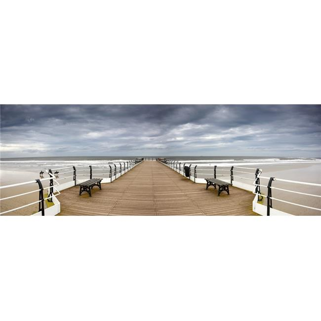 Posterazzi DPI1836227LARGE Dock with Benches Saltburn England Poster Print, Large - 44 x 15 - image 1 of 1