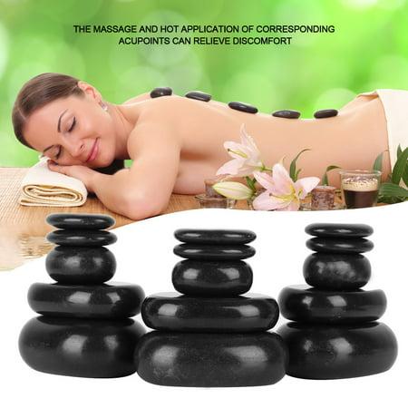 HURRISE 20Pcs/Set Hot Stone Massager Hot Spa Black Basalt Oval Shape Stone Essential Oil Pedicure Massage, Foot Spa Stone Massage