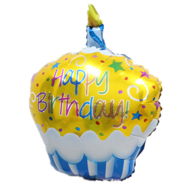 Happy Birthday Cake Foil Helium Balloon Party Decoration Free Air Pumper Include
