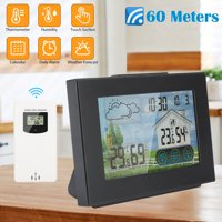 Weather Station, Wireless Digital LCD Clock, Indoor Outdoor Thermometer Hygrometer with Sensor, LCD Color Screen, Digital Temperature Humidity Monitor, Weather Forecast, Alarm Clock, for Home Office