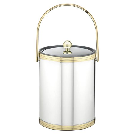 Ice Bucket with Metal Cover in Polished Chrome Finish