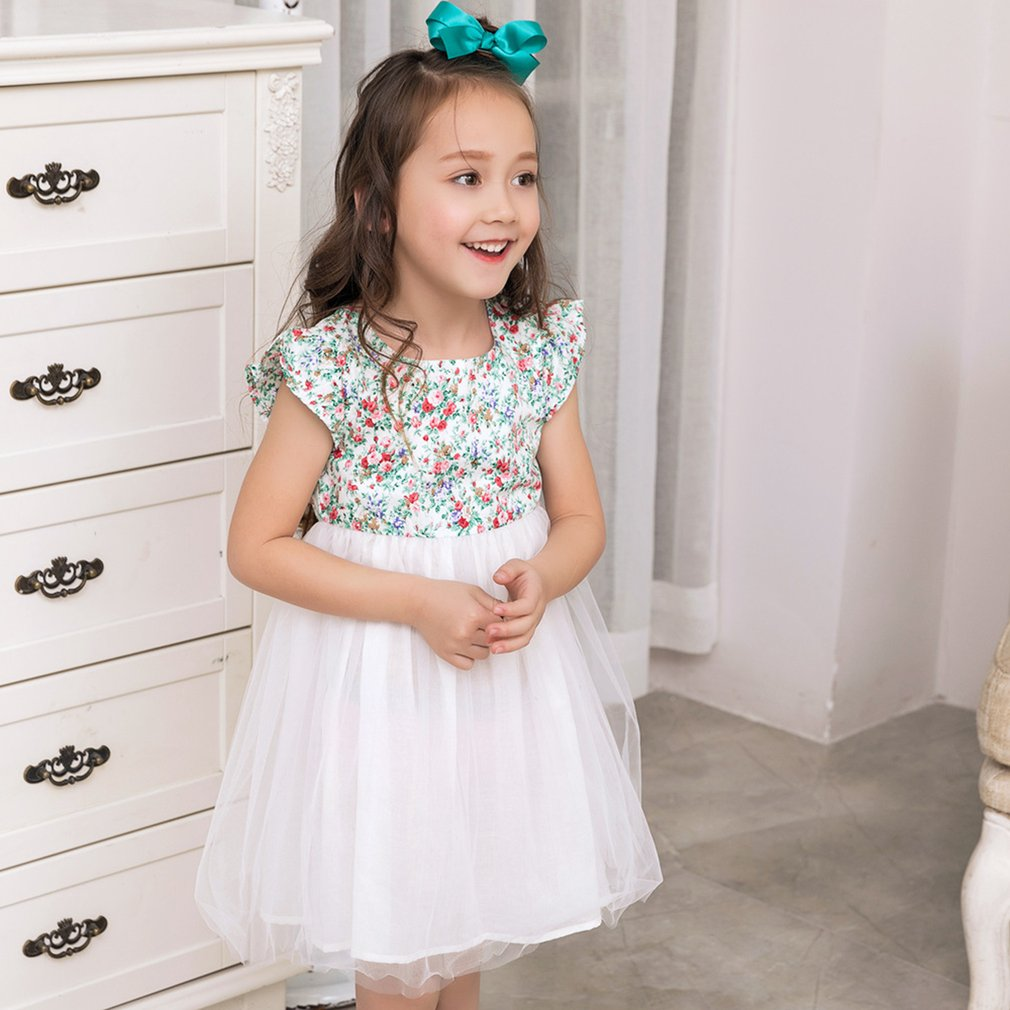 Little Girls Ball Gown Dress Short Sleeve Floral Print Cotton O-Neck ...