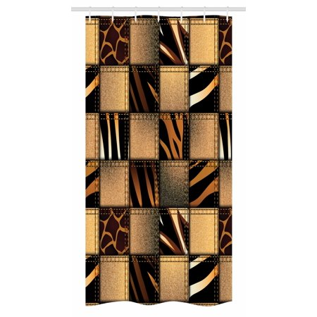 Safari Stall Shower Curtain Jeans Denim Patchwork In Style Wilderness Stylized Design Art Print