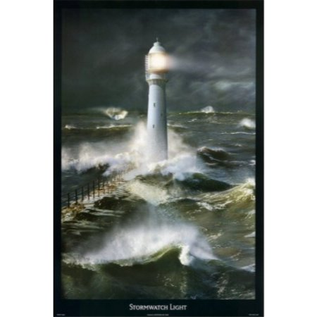 Stormwatch Light 24x36 Art Poster RARE Lighthouse  Storm