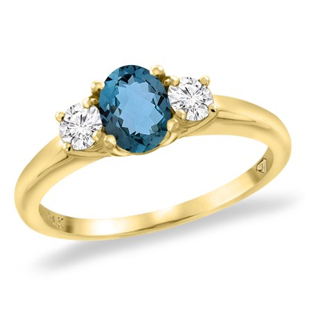 14K Yellow Gold Natural London Blue Topaz Engagement Ring Diamond Accents Oval 7x5 mm, size 5.5