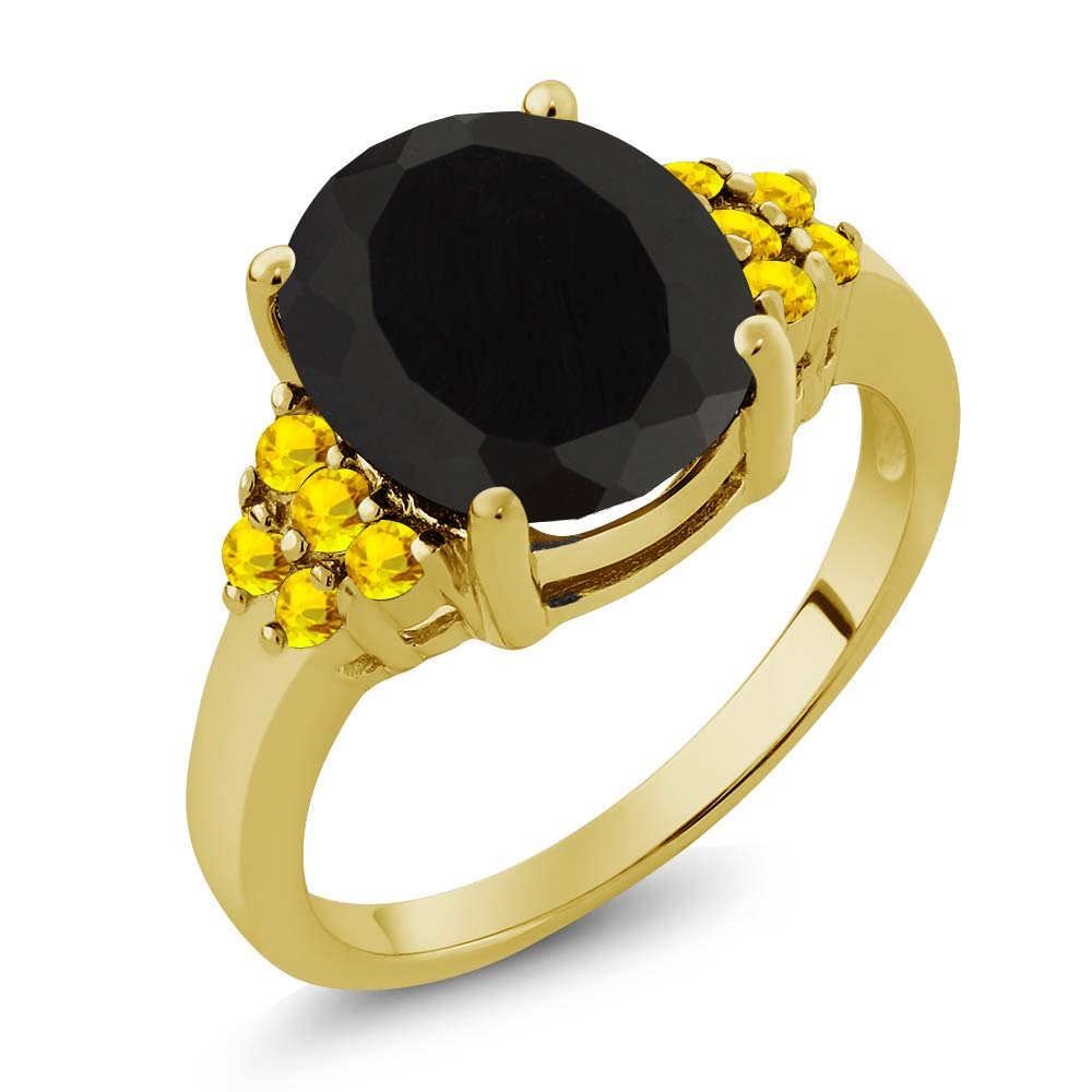 4.79 Ct Oval Black Onyx Yellow Sapphire Yellow Gold Plated Sterling Silver Ring