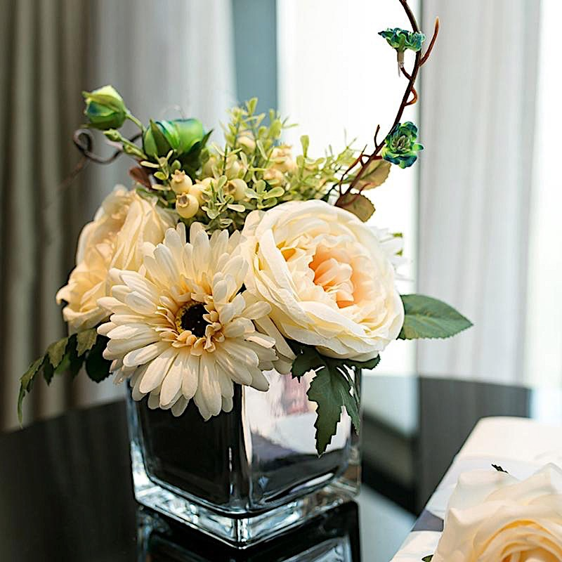 Product Image BalsaCircle Clear 1 Piece 4\  tall Glass Cube Centerpiece Vase - Wedding Party Flowers Home & Clear Vases - Walmart.com