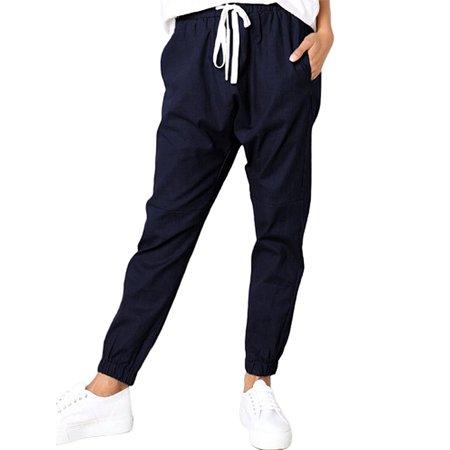 UKAP Women's Elastic Waist Cargo Casual Drawstring Harem Pants Ankle Length Jogger Cropped Trousers with Pockets Womens Drawstring Hem Cargos