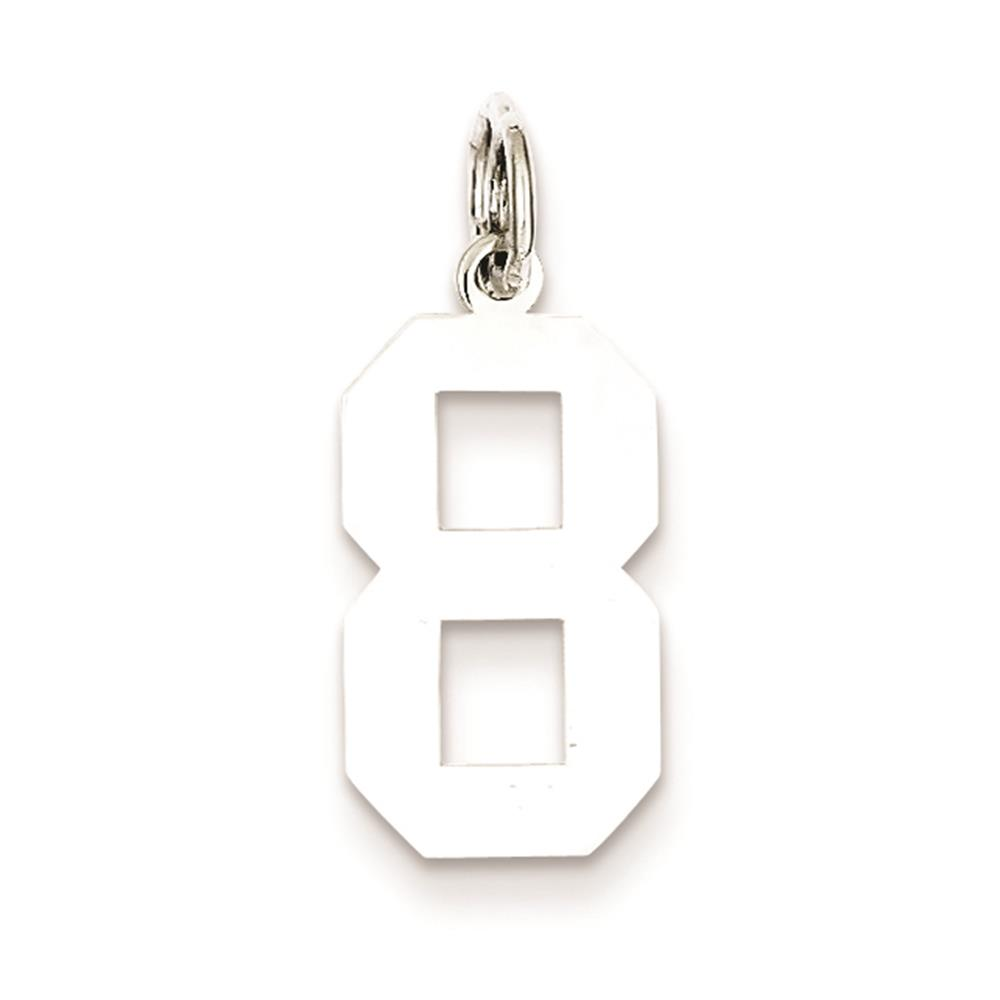 Medium Polished Number 8 Charm Pendant 925 Sterling Silver