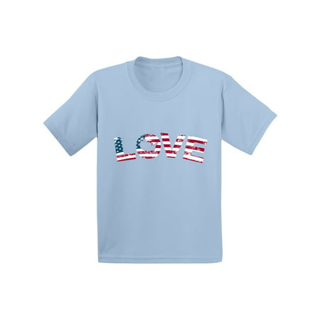 Awkward Styles Love Toddler Tshirt Kids American Flag Love Shirt 4th of July Shirts for Boys and Girls Independence Day Gifts Cute USA Love Shirt for Toddler American Kids Cute Patriotic Tshirt - 4th Of July Crafts For Toddlers