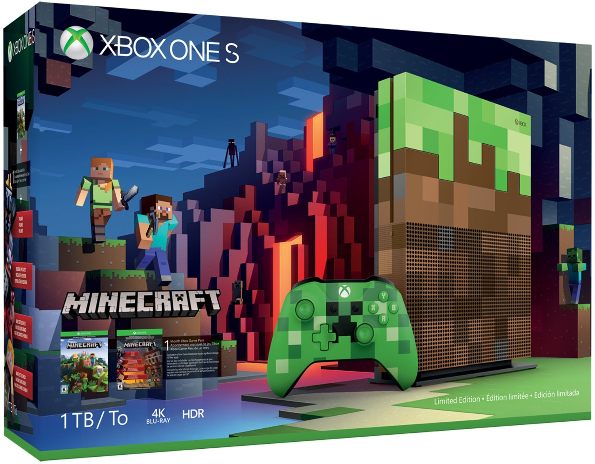 Microsoft Xbox One S 1TB Minecraft Limited Edition Bundle, 23C-00001