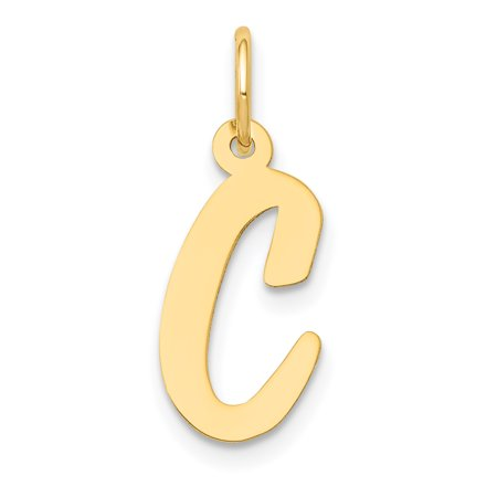 14k Yellow Gold Medium Script Initial Monogram Name Letter C Pendant Charm Necklace Gifts For Women For Her