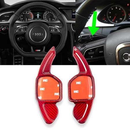 Xotic Tech Red Real Carbon Fiber Car Steering Wheel Shift Paddle Shifter Extension Trim Cover for Audi A4 A8 Q3 Q5