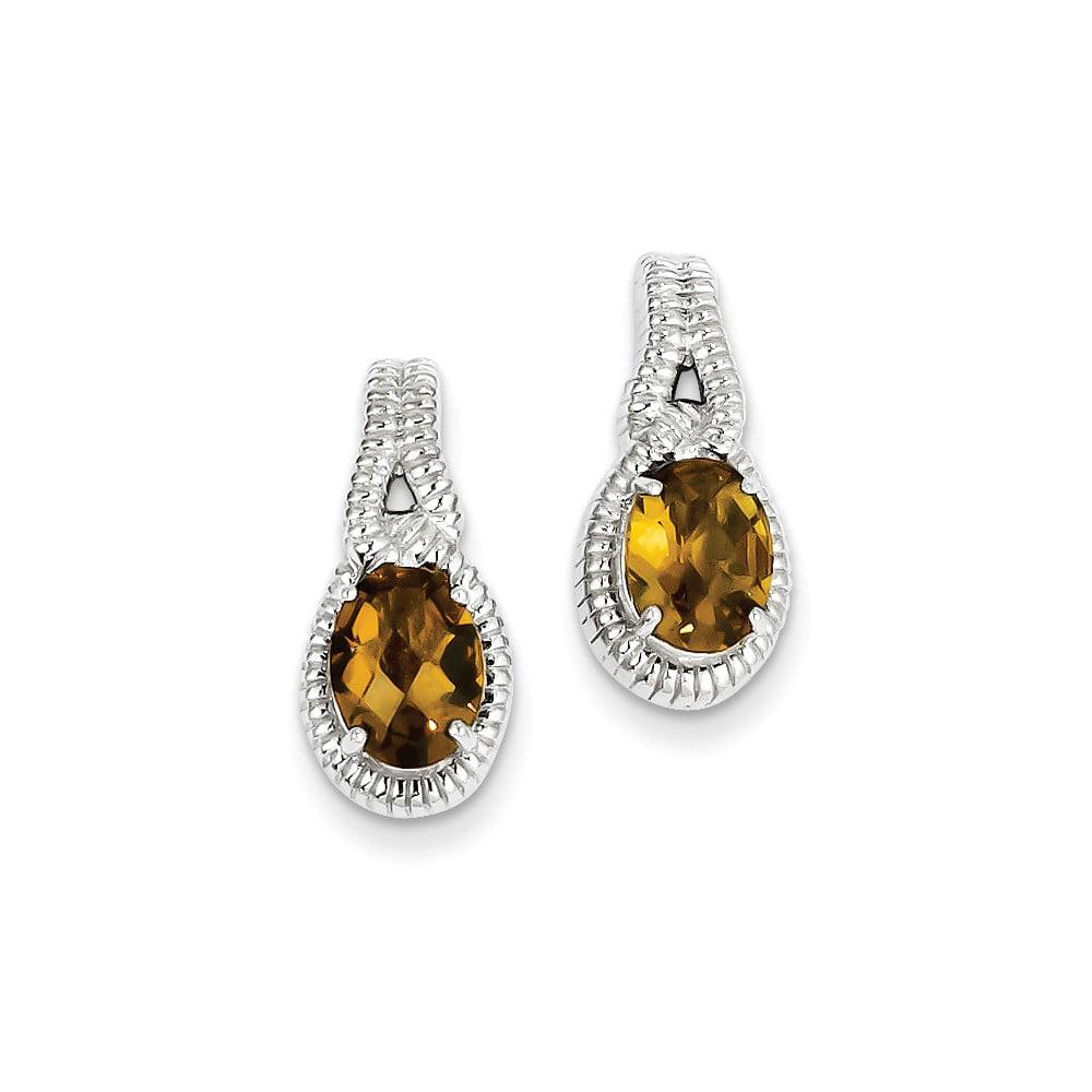 Sterling Silver Whiskey Quartz Earrings. Gem Wt- 2.18ct (0.7IN x 0.3IN )