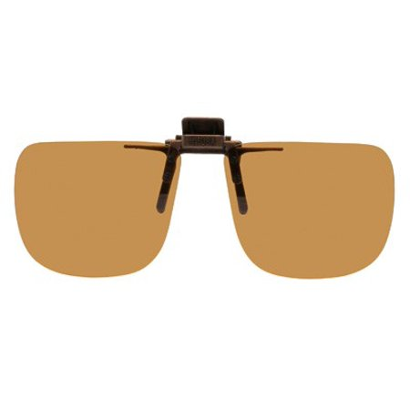 Polarized Clip on Flip up Plastic Sunglasses, Rectangle, 58mm Wide X 47mm High (131mm Wide), Polarized Brown Lenses for $<!---->