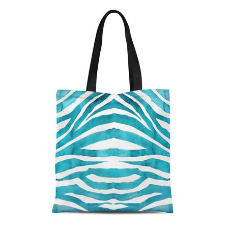 HATIART Canvas Tote Bag Blue Pattern Hand Watercolor Wash Zebra Colorful Ombre Abstract Reusable Shoulder Grocery Shopping Bags Handbag - image 1 de 1