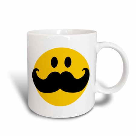 3dRose Yellow Smiley face with big black mustache - funny moustache - fun hipster fancy gentleman cartoon - Ceramic Mug, 11-ounce - Big Yellow Smiley Face