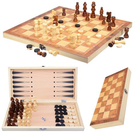 Wooden Chess Set  - Folding Board, Handmade Portable Travel Chess Board Game Sets with Game Pieces Storage Slots - Beginner Chess Set for Kids and Adults ()