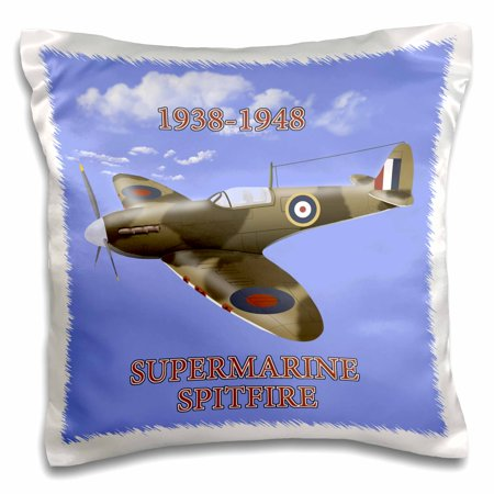 3dRose Supermarine Spitfire. British Royal Air Force fighter WW2 in battle colors - Pillow Case, 16 by 16-inch Air Force Battle Uniform