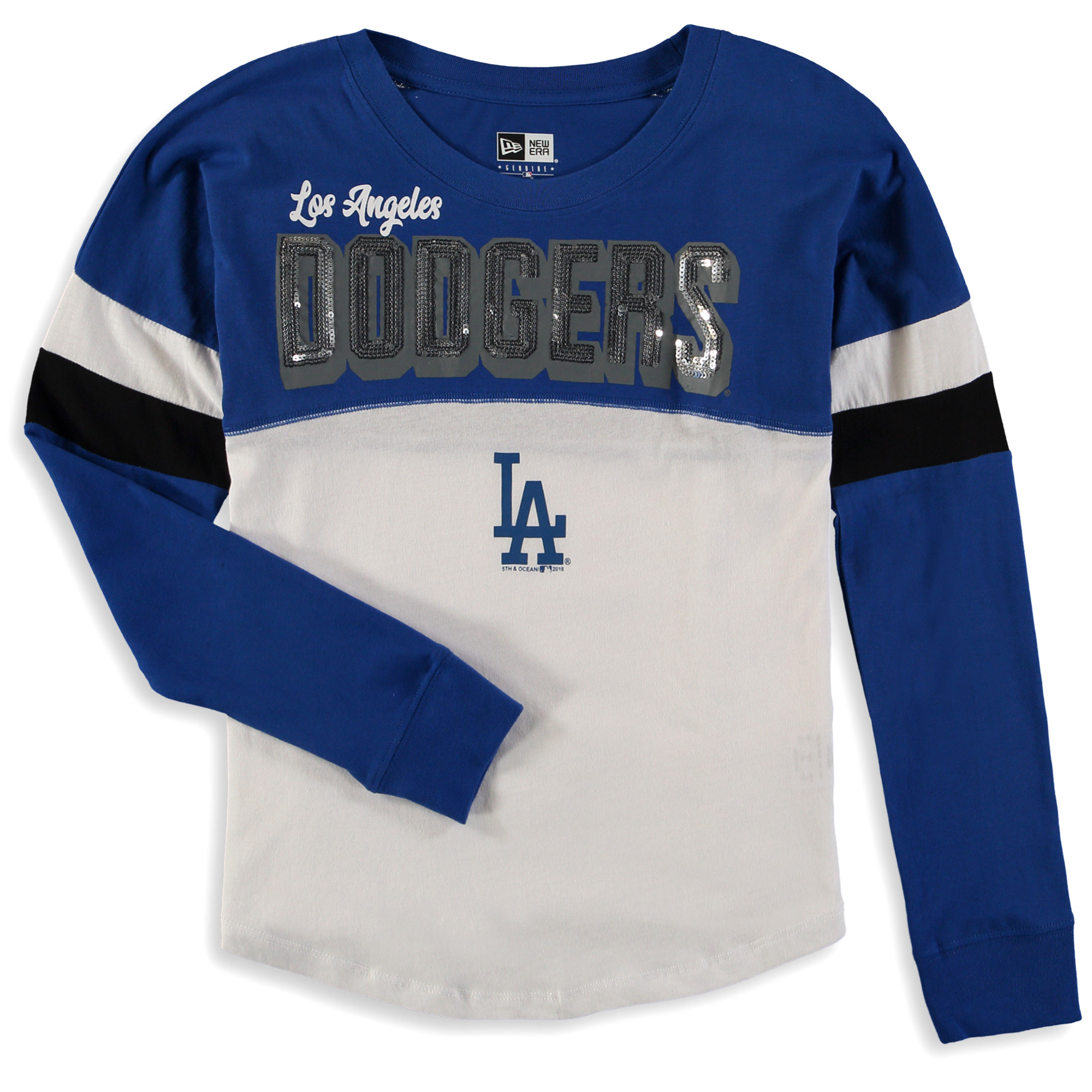 Los Angeles Dodgers 5th & Ocean by New Era Girls Youth Baby Jersey Long Sleeve T-Shirt - Royal/White