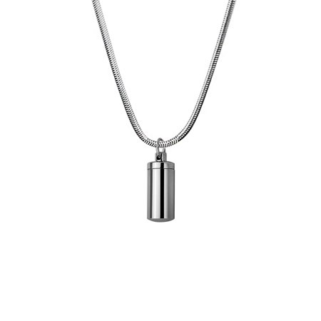 Anavia Silver Polished Human Ashes Container Cylinder Memorial Necklace Pendants for Cremated Ashes Holder With Free Funnel Kit and Jewelry Box (Fred Jewelry)