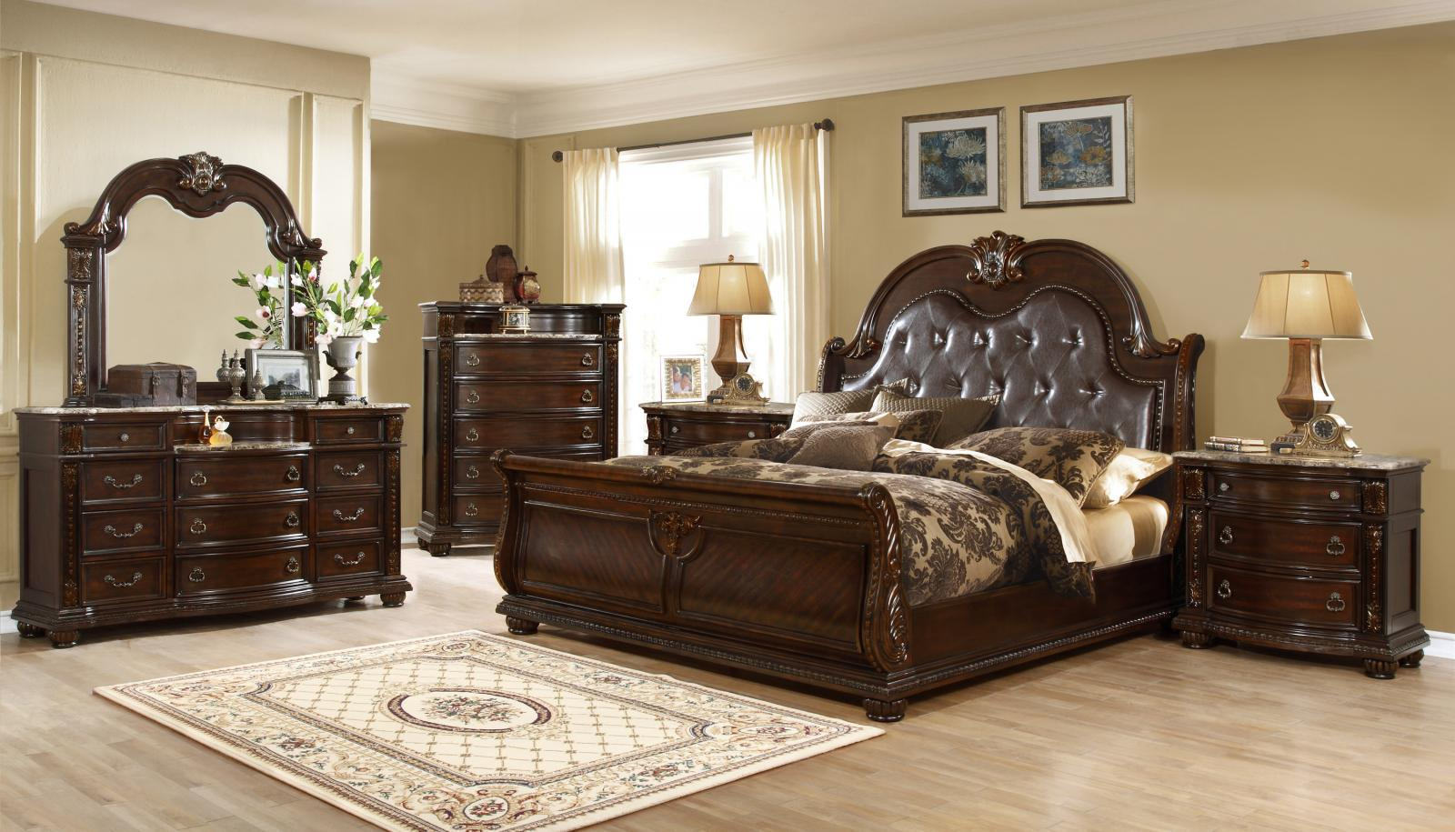McFerran B9500 EK Amber Dark Cherry Finish Tufted Eastern King Bedroom Set  6Pcs   Walmart.com