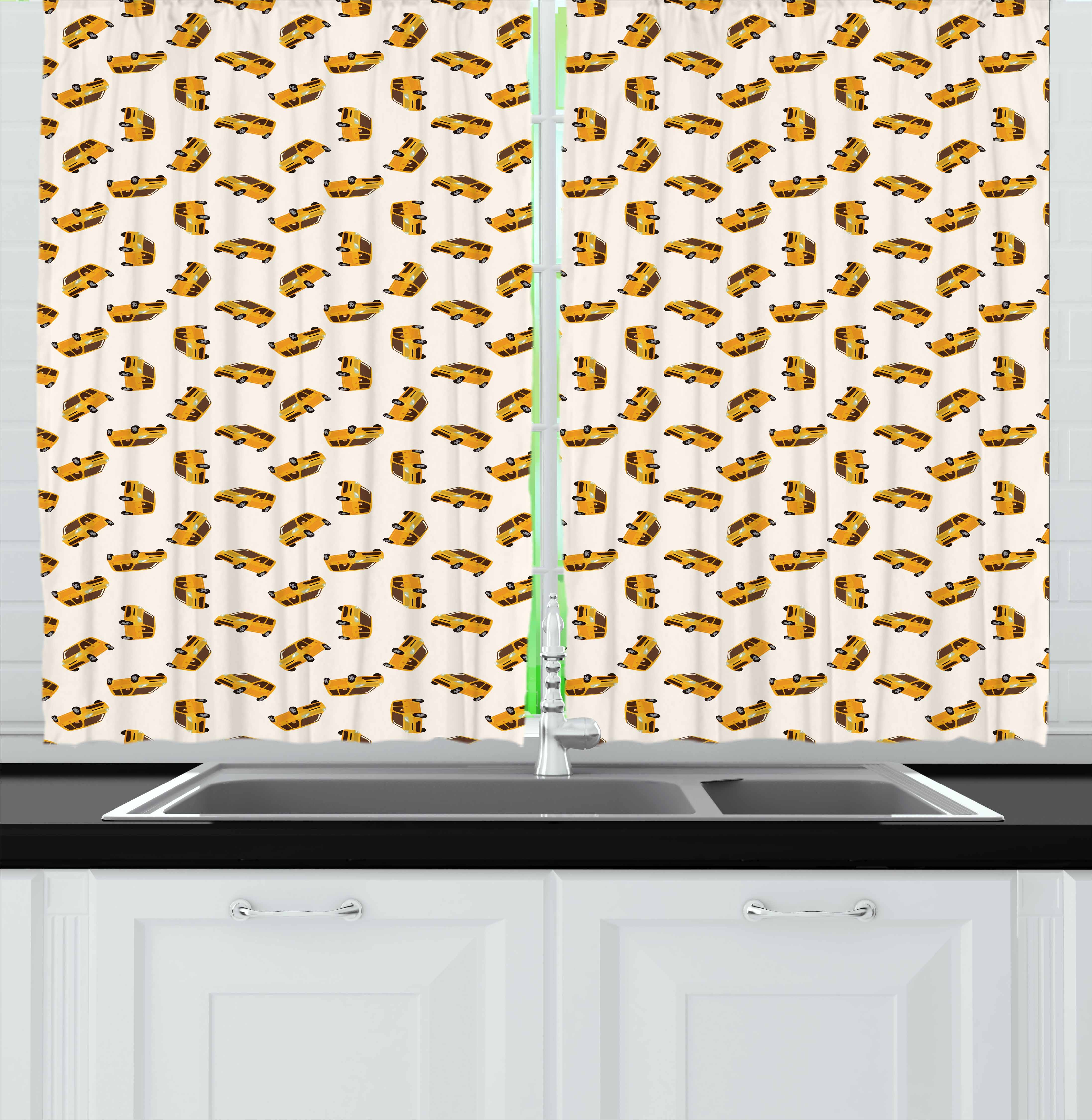 Car Curtains 2 Panels Set, Cartoon Style Automobiles Transportation Theme Vehicles for Boys Kids Nursery, Window Drapes for Living Room Bedroom, 55W X 39L Inches, Marigold Brown Black, by Ambesonne