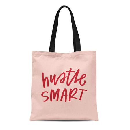 SIDONKU Canvas Tote Bag Hustle Smart Advice Boss Clever Cursive Girl Goal Reusable Shoulder Grocery Shopping Bags Handbag