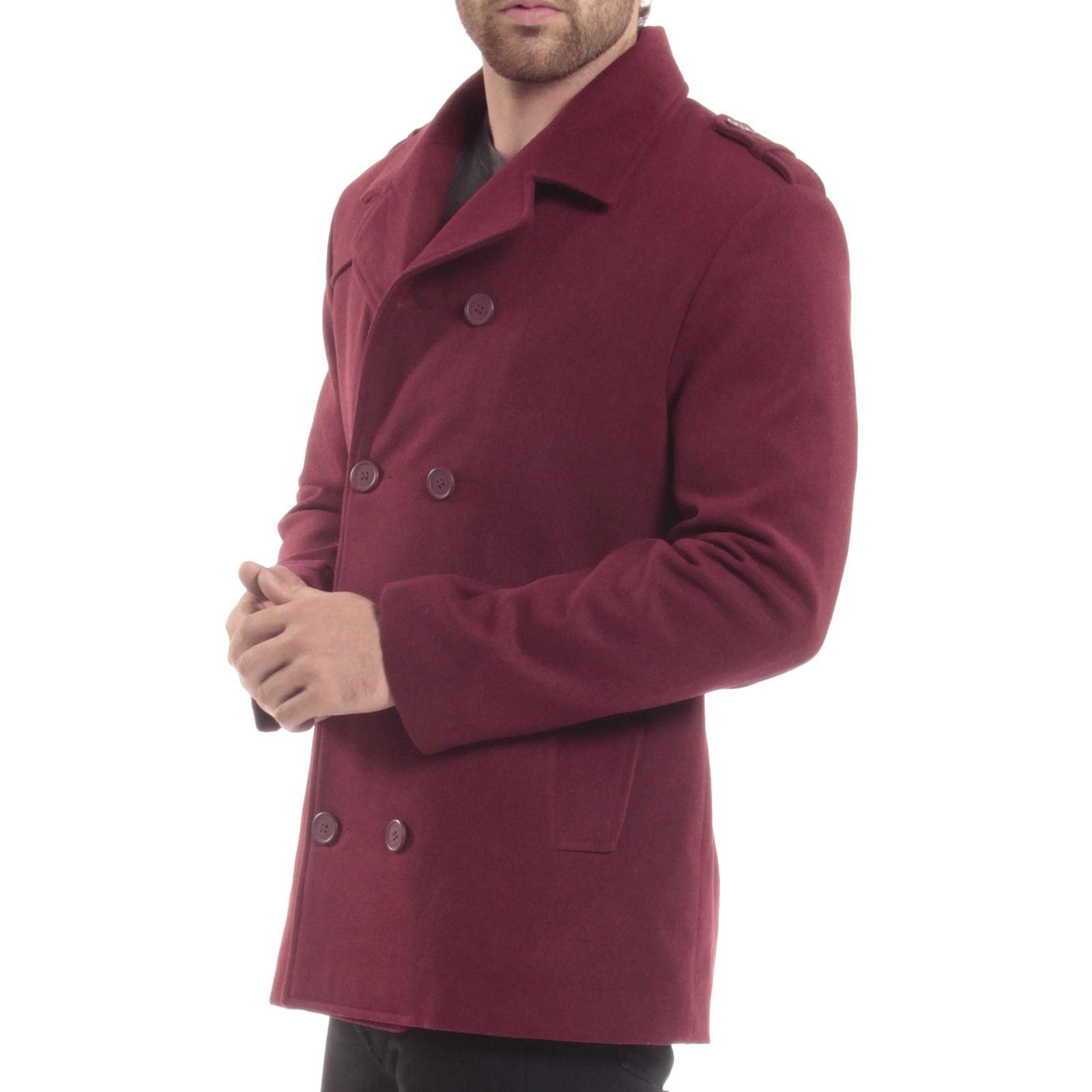 Alpine Swiss Jake Mens Pea Coat Wool Blend Double Breasted Dress ...